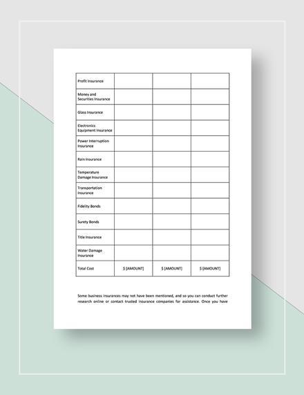 Worksheet Business Insurance Planning Download