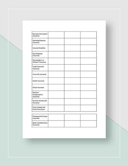 Worksheet Business Insurance Planning Template