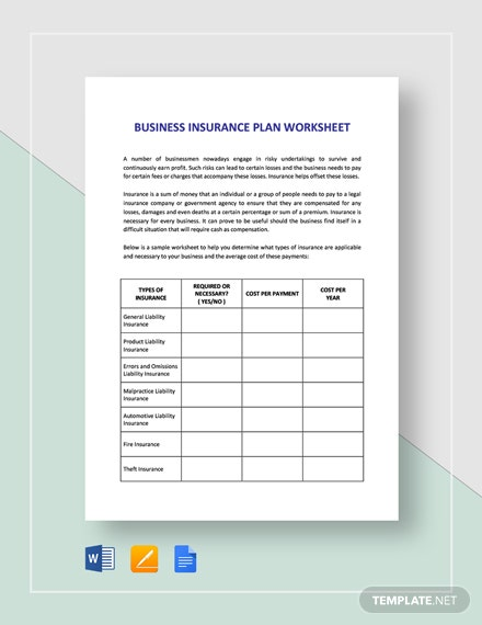 Worksheet Business Insurance Planning Template