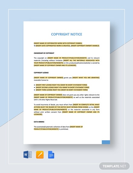 Copyright Notice Template