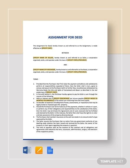 Assignment for Deed Template