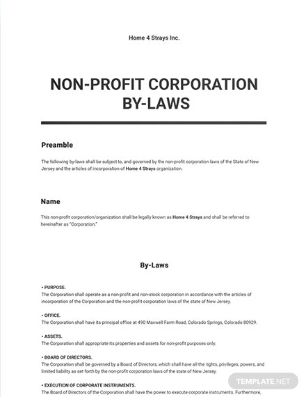 Bylaws Not for Profit Corporation Sample