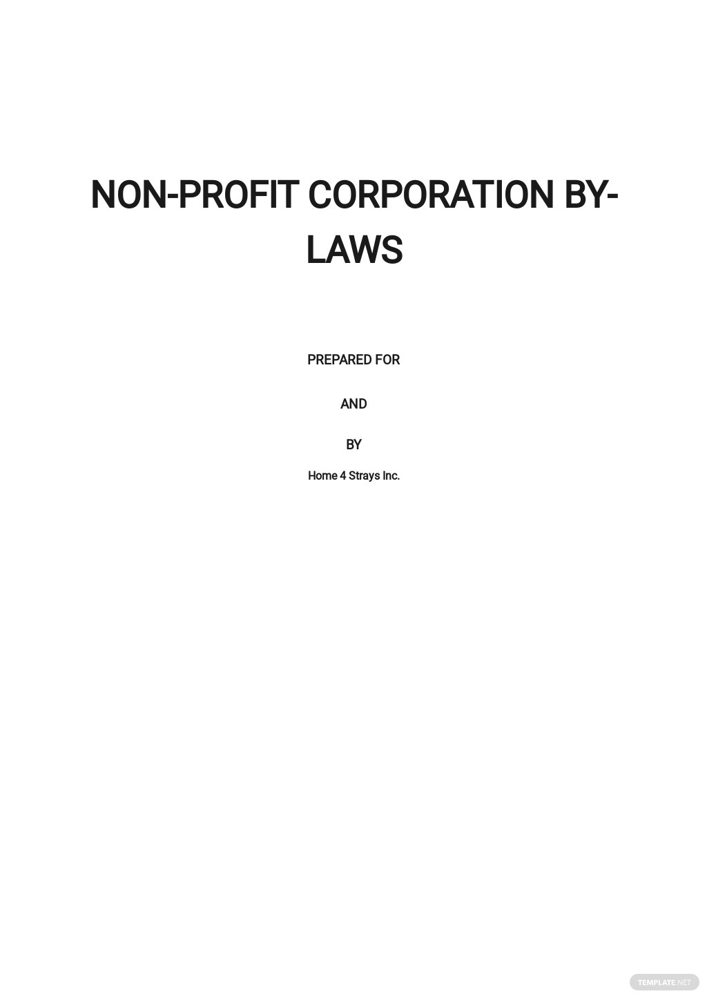 Bylaws Not for Profit Corporation Template