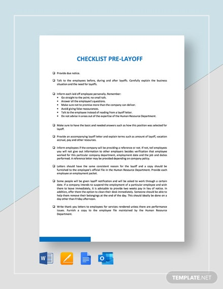 Checklist Pre-Layoff Template