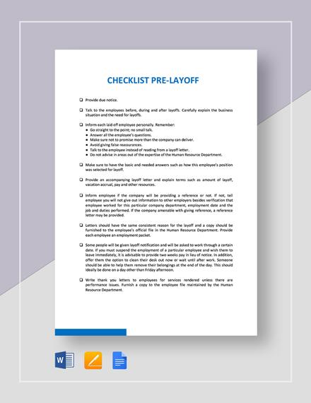 Checklist Pre-Layoff Template