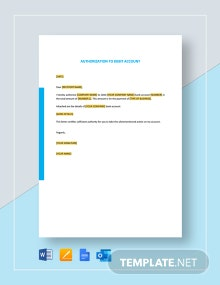 Authorization to Debit Account Template