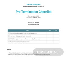 Checklist Pre-Termination Template