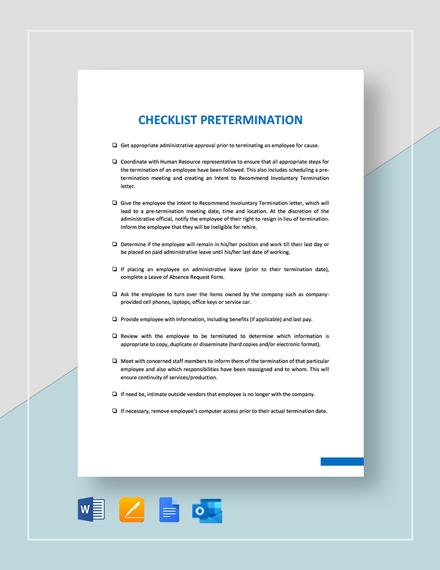 Checklist Pre-Termination Template