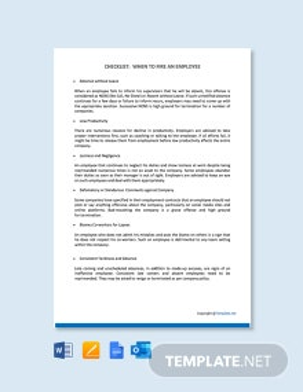 Checklist When Should You Fire an Employee Template