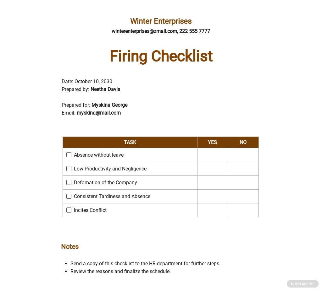 Checklist When Should You Fire an Employee Template