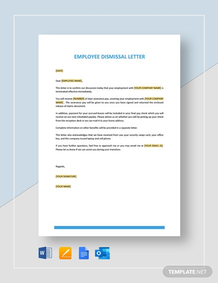 Employee Dismissal Letter Template