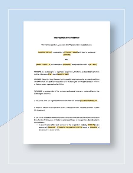 Checklist PreIncorporation Agreement Download