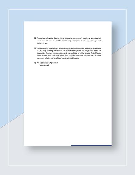 Checklist PreIncorporation Agreement Template
