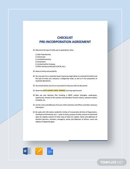 Checklist Pre-Incorporation Agreement Template