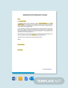 Free Resignation Letter Going Back to School Template