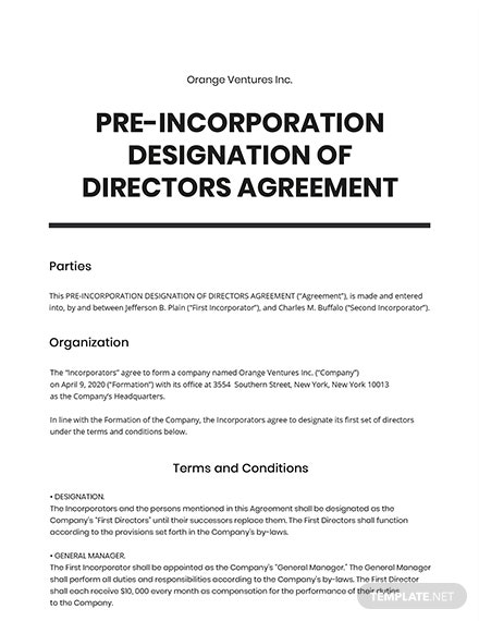 Pre-Incorporation Agreement Template