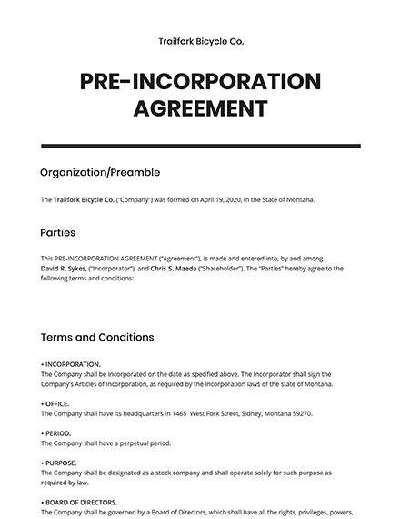 PreIncorporation Agreement