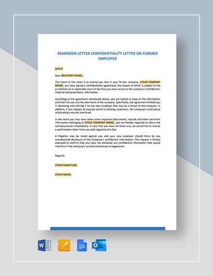 Reminder Letter Confidentiality Letter or Former Letter Template
