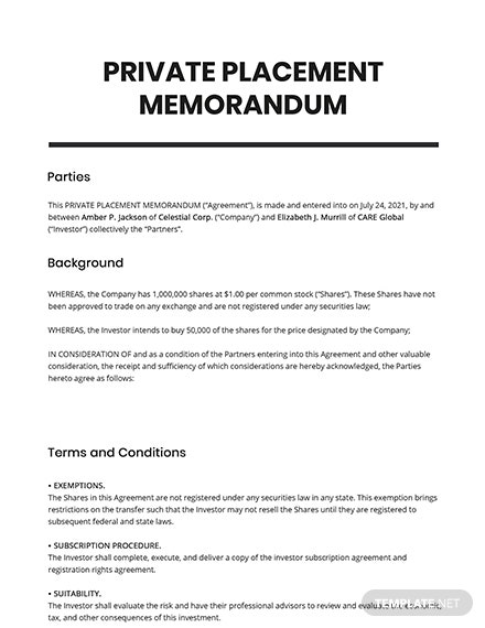 Private Placement Memorandum Template