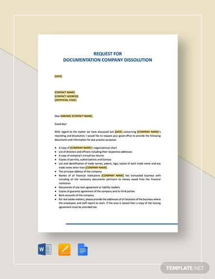 Request for Documentation Company Dissolution Template