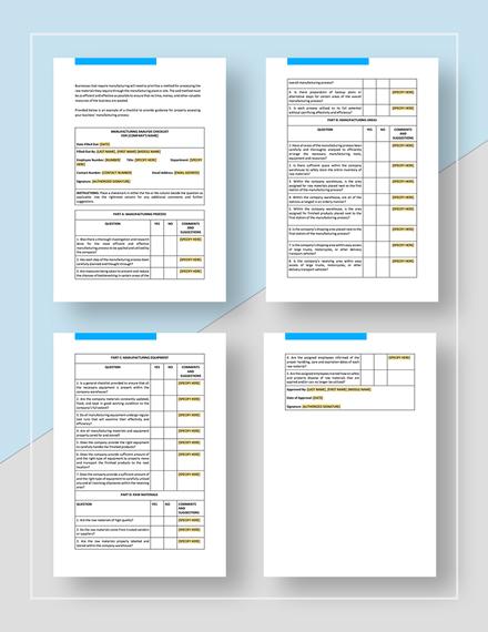 Checklist Manufacturer Analysis Template