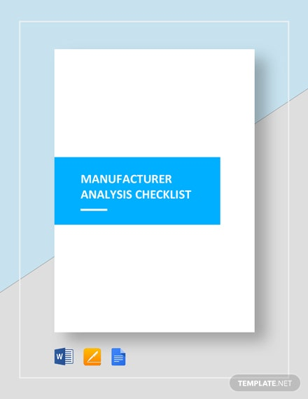 Checklist Manufacturer Analysis Template