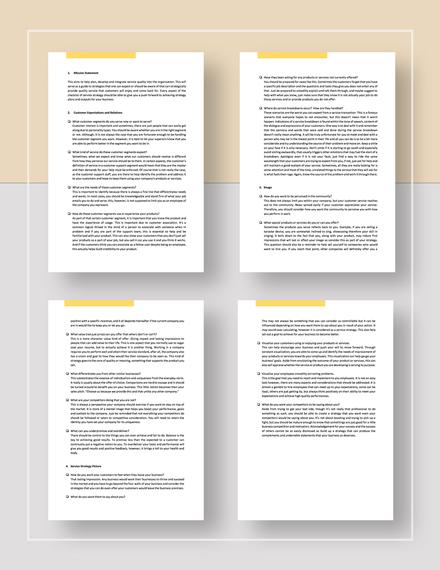 Checklist Service Strategy Template