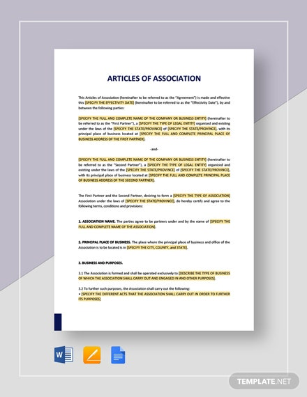 Articles of Association Template
