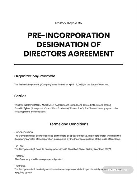 Pre-Incorporation Designation of Directors Template