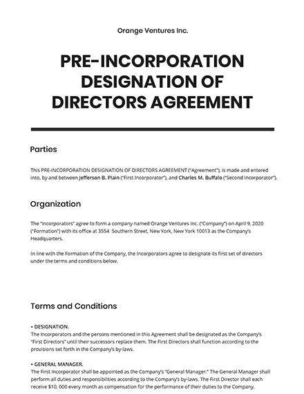 Pre-Incorporation Designation of Directors Template