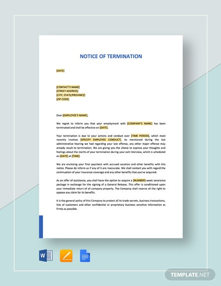 Notice of Termination Template