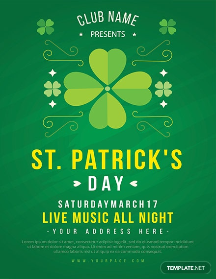 st patrick s day celebration flyer template 1x