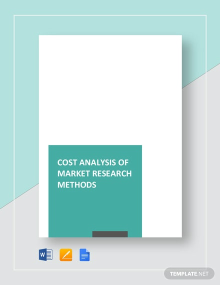 Free Cost Analysis of Market Research Methods Template