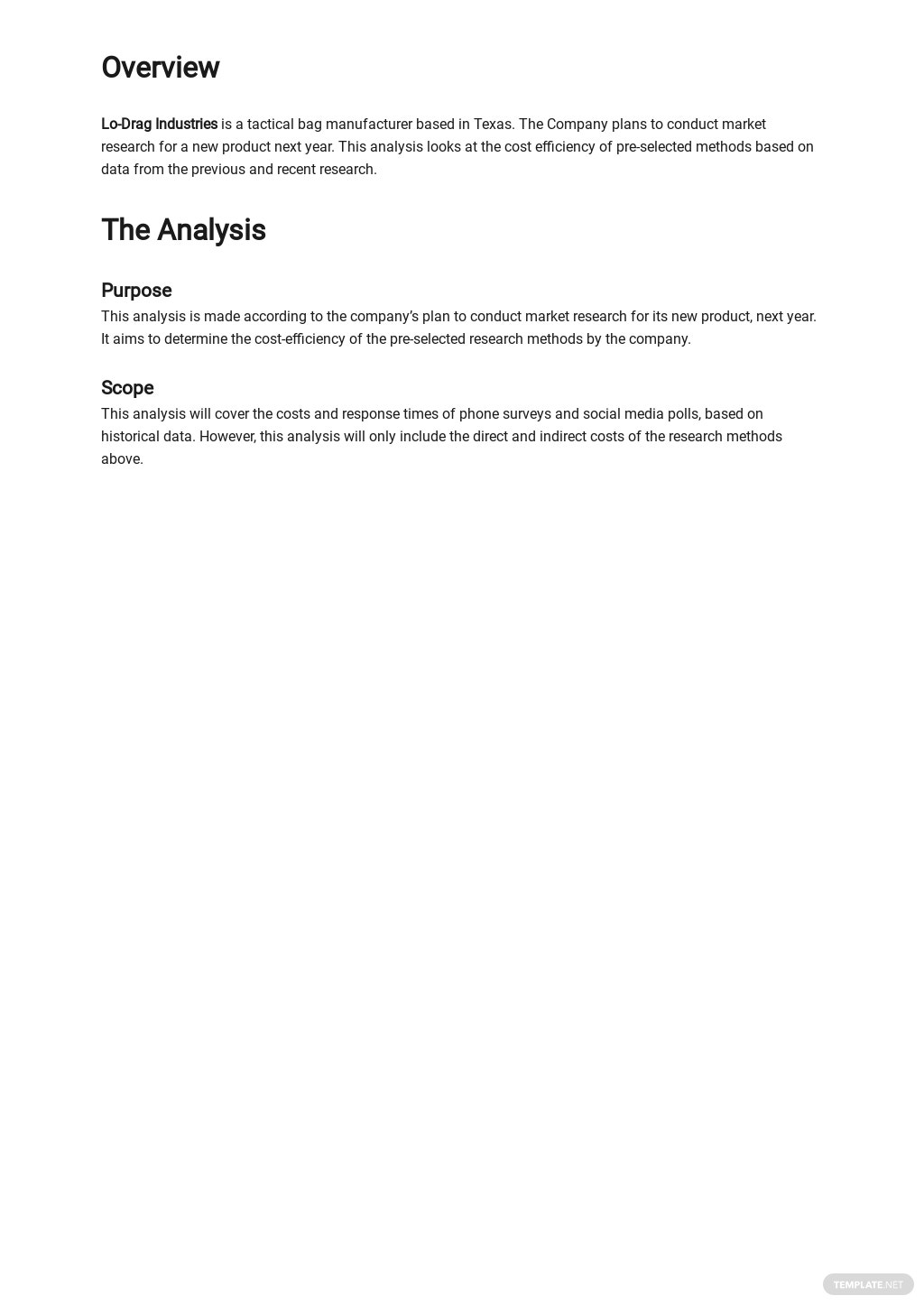 Free Cost Analysis of Market Research Methods Template 1.jpe