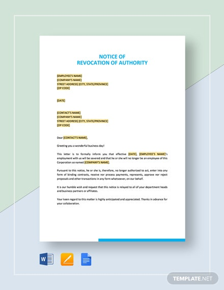 Notice of Revocation of Authority Template