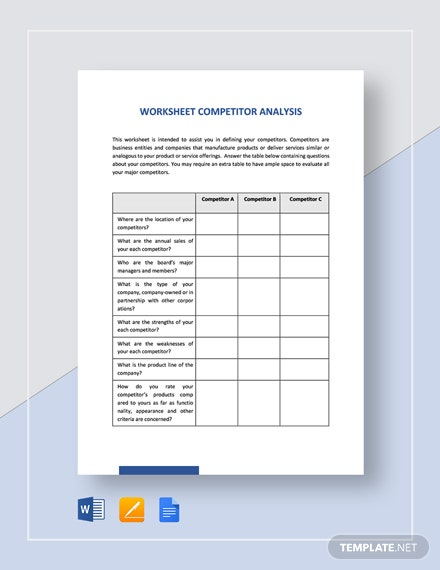 Worksheet Competitor Analysis Template