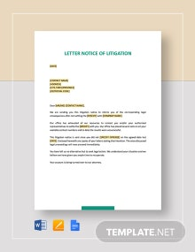 Letter Notice of Litigation Template