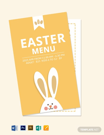 Download Free Easter Menu Card Template