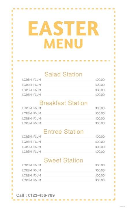 free easter menu card template in adobe illustrator photoshop