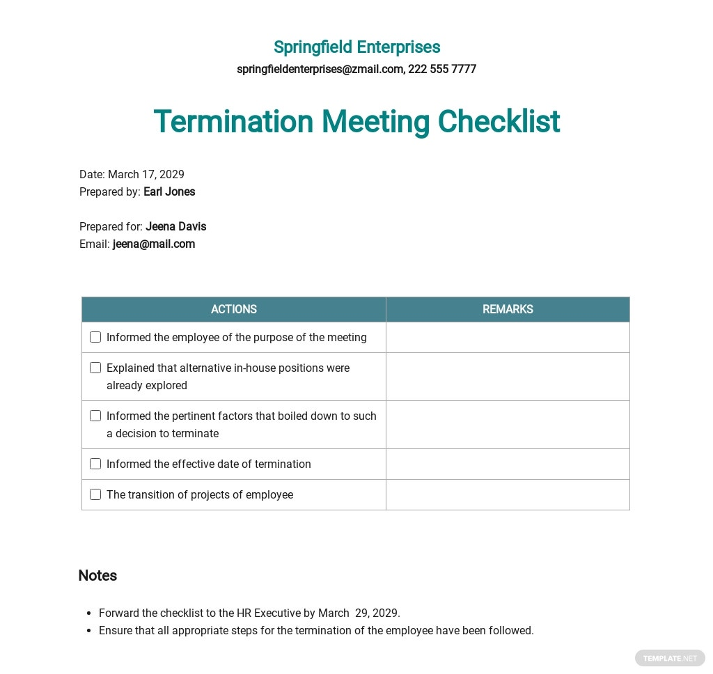 Termination Meeting Checklist Template