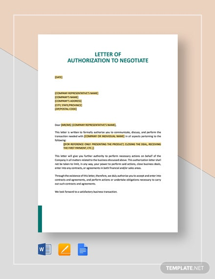 Letter of Authorization to Negotiate Template
