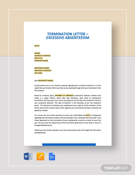 Termination Letter - Excessive Absenteeism Template