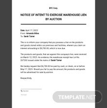 Notice of Intent to Exercise Warehouse Lien by Auction Template