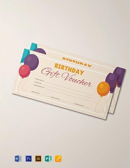 Free Birthday Gift Voucher Template