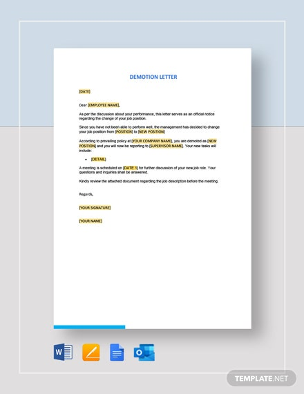 Demotion Letter Template