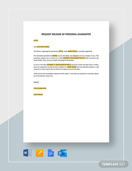 Request Release of Personal Guarantee Template