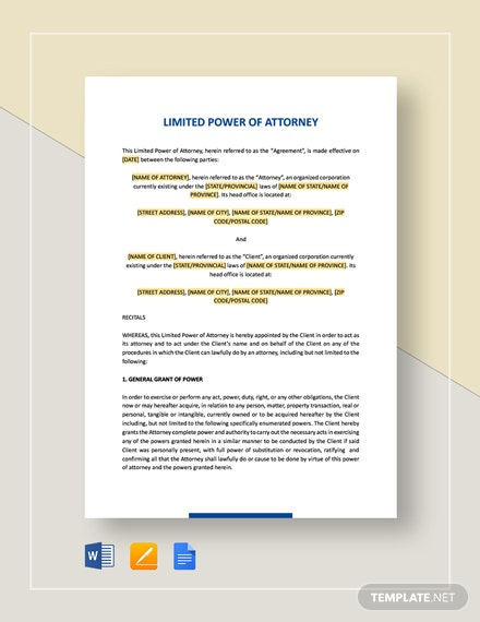 Limited Power of Attorney Template