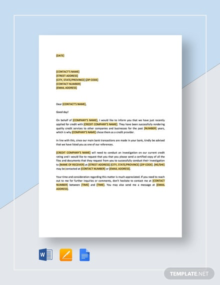 Request to Bank for Copy of Credit Report Template