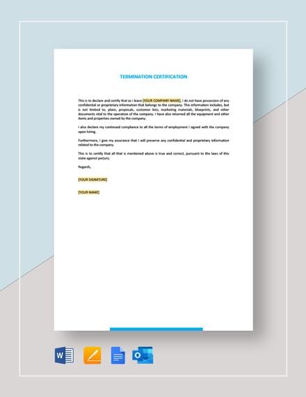 Termination Certification Template