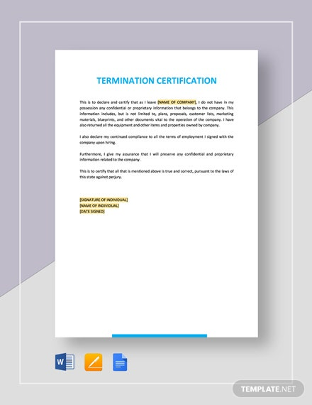 Termination Certification Template